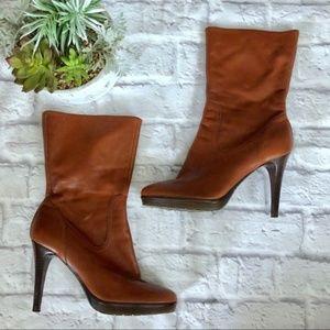 Calvin Klein Konnie cognac mid calf heeled boots